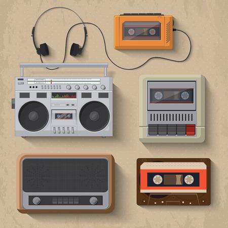 tape recorder: Iconos del reproductor de música retro de la ilustración