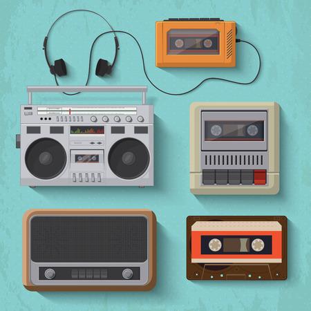 Icônes de lecteur de musique rétro illustration