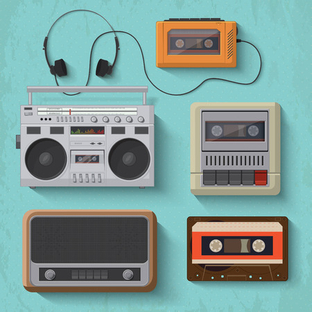 Retro music player icons illustration Vector