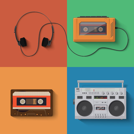 cassette tape: music player icon set