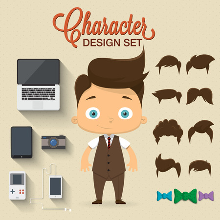 Cute boy character illustration with elements and icons