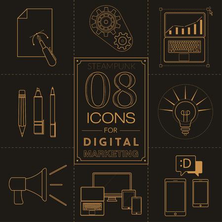 digital marketing: Steampunk icons for digital marketing