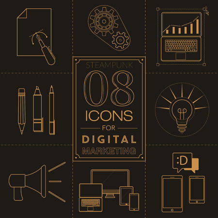 Steampunk icons for digital marketing