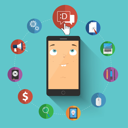 Flat icons with phone. Vector character illustration