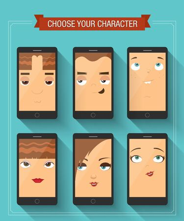 Phone boy and girl characters. Vector illustration