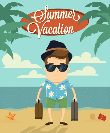 man drinking water: Summer vacation with character illustration design.Vector