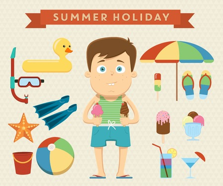 Summer holiday summer with character design objects. Vector illustration