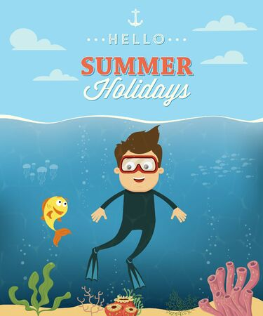 sunglasses cartoon: Summer vacation with diver character design. Vector illustration