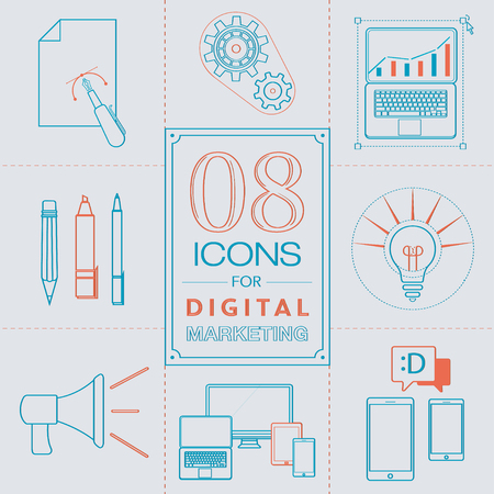 Line Icons for digital marketing. Vector sketch