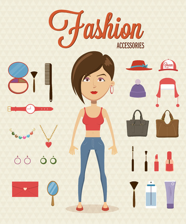 Woman with flat character design element and accessories. Vector illustration Illustration