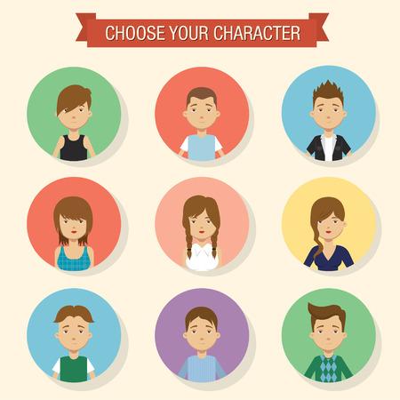 Flat character icons. Vector illustration Illustration