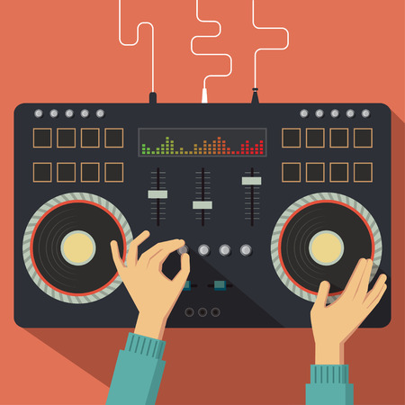 dj: Flat DJ controller with hands. Vector illustration