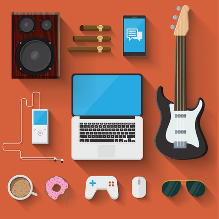 Vector Man accessories ans objects Illustration