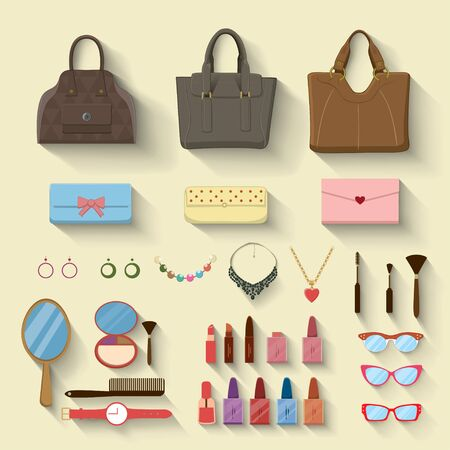 Vector woman accessories and objects Illustration