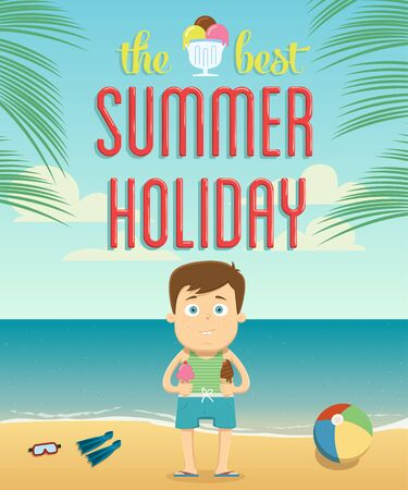 The best summer vacation with character design. Vector illustration