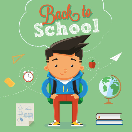 Back to school with character design elements and accessories Illustration