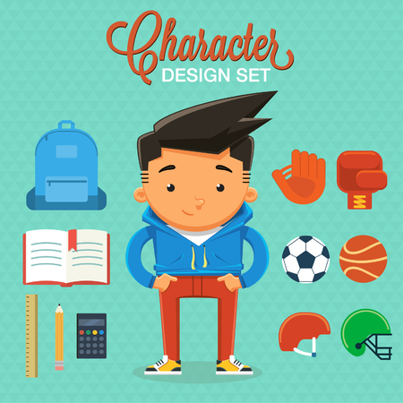 back pack: Boy character with design elements and accessories. Vector illustration
