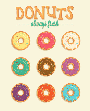 Colorful vector illustrations donuts