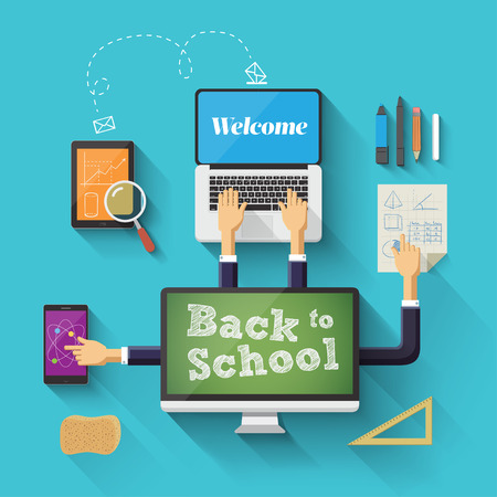 Back to school with devices. Vector illustration