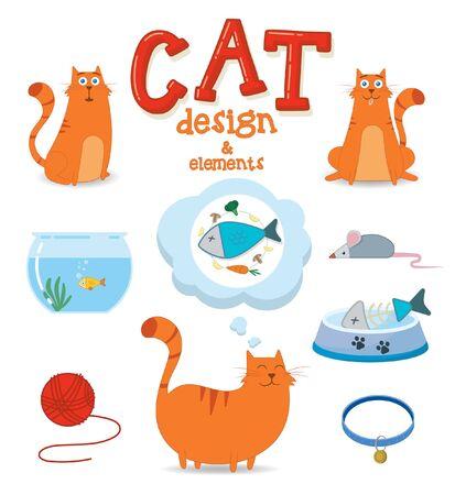 Cute cat with design elements. Vector illustration Illustration