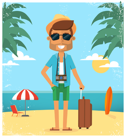 Summer vacation background. Vector character illustration Illustration