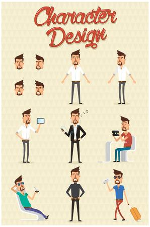 visage homme: Jeu de caractères avec la conception différente illustration positions.Vector