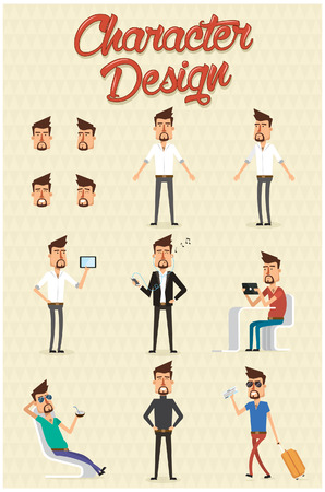 Character set with different design illustration positions.Vector Illustration