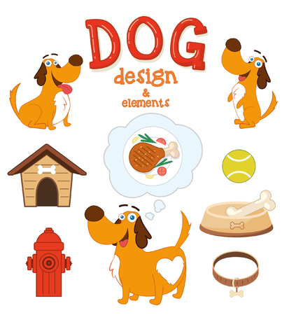 Cute Dog with design elements. Vector illustration 向量圖像
