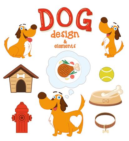 cute dog: Cute Dog with design elements. Vector illustration Illustration