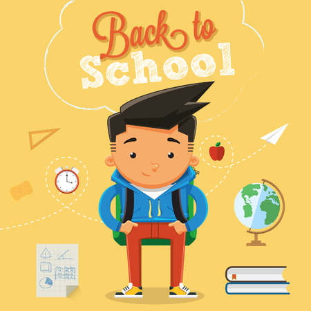 Back to school with character design elements and accessories 2