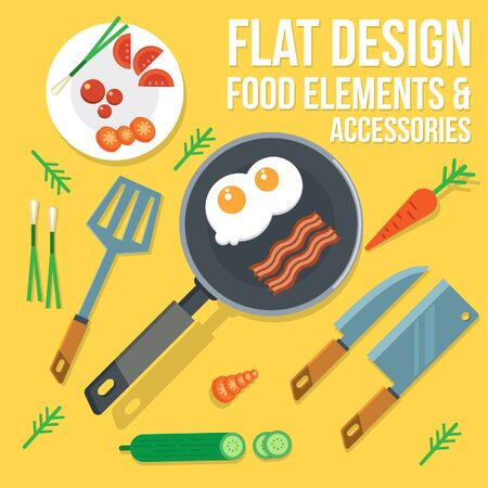 Elements Food And Accessories with Egg Illustration
