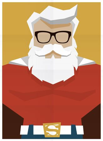 Santa Claus superhero retro poster illustration