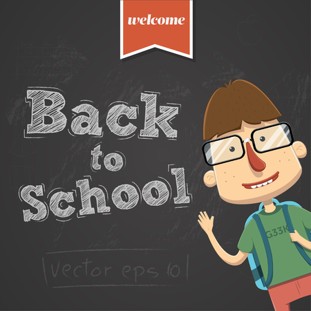 Vector back to school background with character Illustration