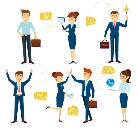 boss and employee: Character Set Design Business with Employees Illustration