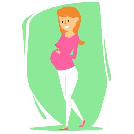 Beautiful Pregnant Woman Character Design. Vector Illustration Illustration