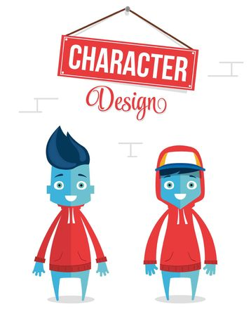 Funny Cartoon Character Design Modern Young
