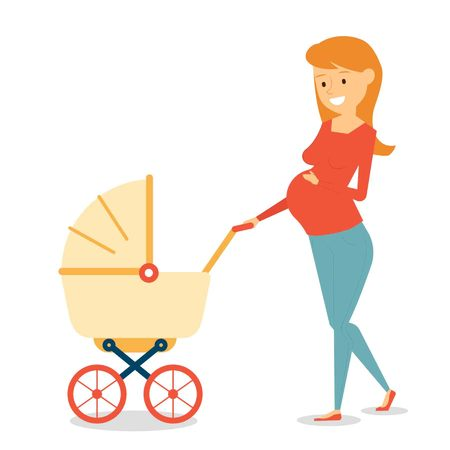 Beautiful Character Design Mother with Pram Illustration