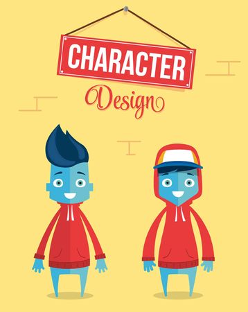 Funny Young Contemporary Character Design. Quality Vector Illustration Illustration