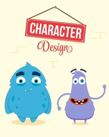 Cute Monsters Design. Quality Vector Illustration