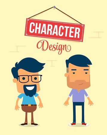 Two Man Character Design. Vector Illustration Illustration