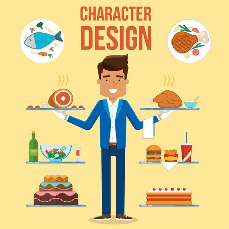Waiter Character Set Design. Vector Illustration Food