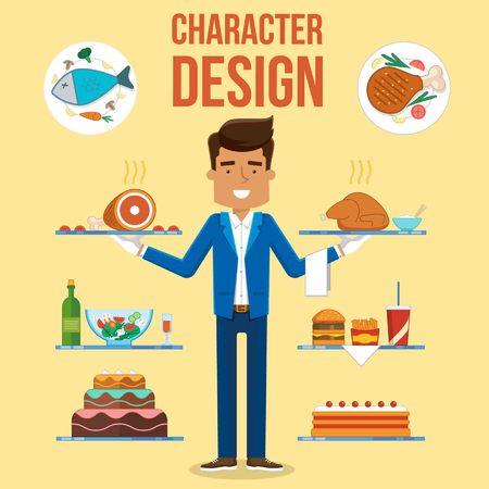 steak plate: Waiter Character Set Design. Vector Illustration Food