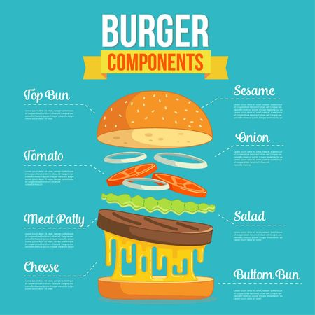 Flat Design Burger Components. Vector Illustration