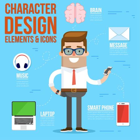 Geek Character Design Elements and Accessories. Vector Illustration Illustration