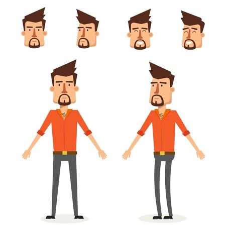 Cool Young Man Character Design. Vector Illustration