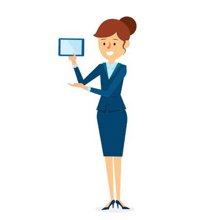 construction firm: Presentation Tablet Character Design. Vector Illustration Illustration