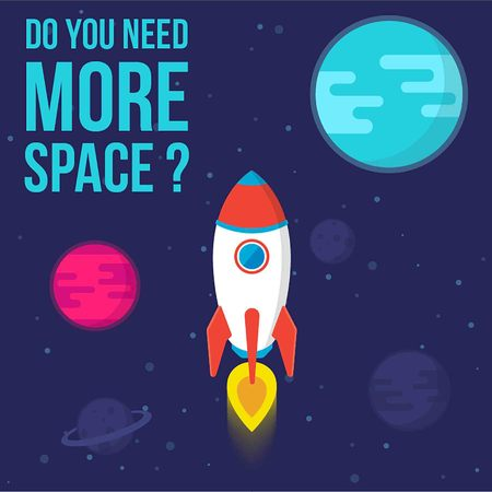 Do You Need More Space. Vector Illustration Rocket in Space