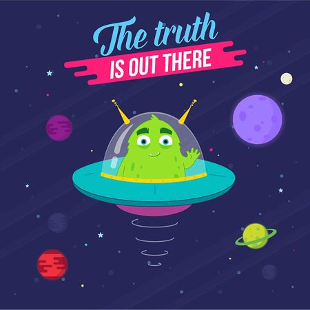 The Truth Is Out There. Cute Alien Space Craft with