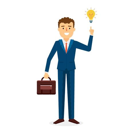 seeker: Business Idea Man with Character Design. Vector Illustration