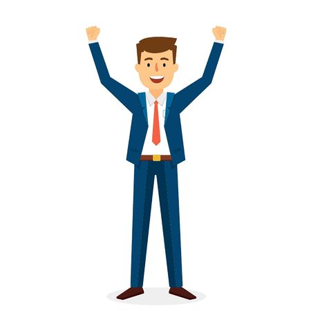 Successful Business Man Character Design. Vector Illustration Illustration